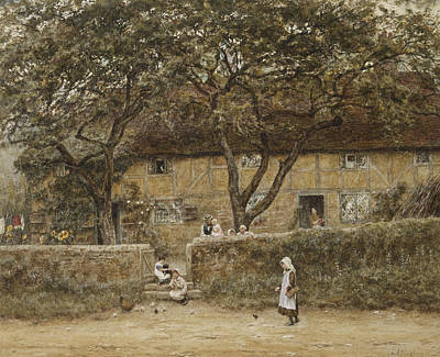 Building Exterior Painting - Children Outside A Cottage by Helen Allingham