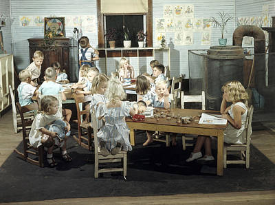 Children Play In A Day Nursery Art Print by J Baylor Roberts