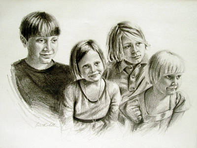 Painting - Children's Portrait by Erin Rickelton
