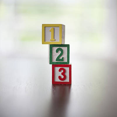 Number 3 Photograph - Child's Numbered Building Blocks 1-3 In A Stack by Steven Errico