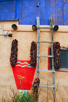 Ristra Photograph - Chile Ristras Truchas New Mexico by George Oze