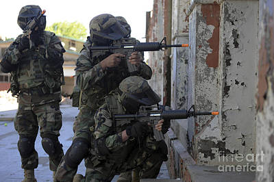 Obscured Face Photograph - Chilean Marines Participate by Stocktrek Images