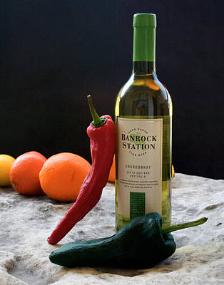 Chilis Wine And Citrus Art Print by Jim  Arnold