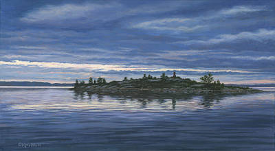 St. Lawrence River Painting - Chimney Island by Richard De Wolfe