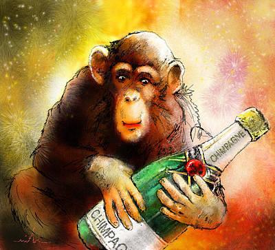 Art Miki Digital Art - Chimpagne From My Own Vineyard by Miki De Goodaboom