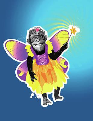Chimpanzee Digital Art - Chimpanzee In Fairy Costume by New Vision Technologies Inc