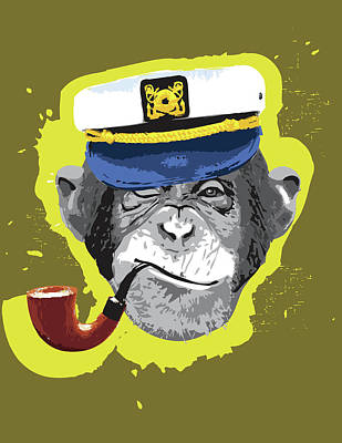 Chimpanzee Digital Art - Chimpanzee Wearing Captain's Hat, Smoking Pipe by New Vision Technologies Inc