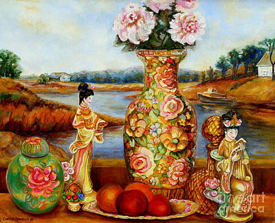 Painting - China Dolls And Vase Still Life by Carole Spandau