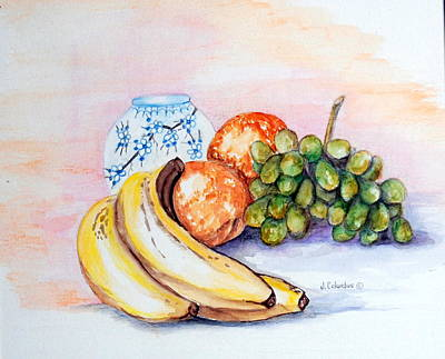 China Vase With Fruit Art Print by Janna Columbus
