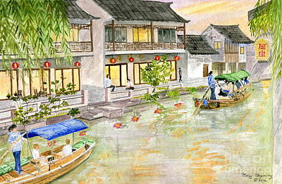 Painting - China's Venice Zhouzhuang by Melly Terpening