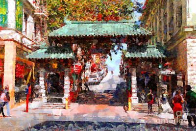 Wings Domain Photograph - Chinatown Gate In San Francisco . Painterly . 7d7139 by Wingsdomain Art and Photography