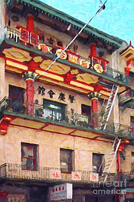Bay Area Digital Art - Chinatown by Wingsdomain Art and Photography