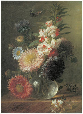 Chinese Aster And Balsam In A Glass Vase Art Print by Cornelis Van Spaendonck