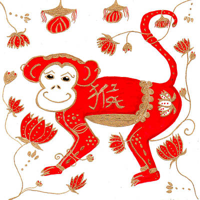 Drawing - Chinese Astrology Monkey by Barbara Giordano