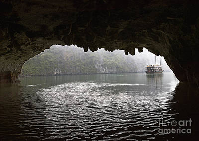 Junk Boat Wall Art - Photograph - Chinese Junk Seen Through A Cave Entrance by Skip Nall