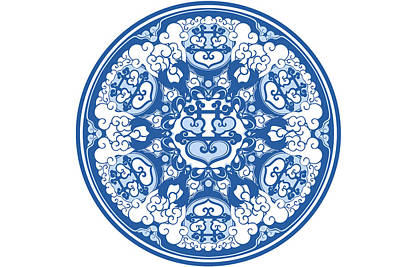 Mandala Digital Art - Chinese Traditional Blue And White Porcelain Style Pattern by BJI Blue Jean Images