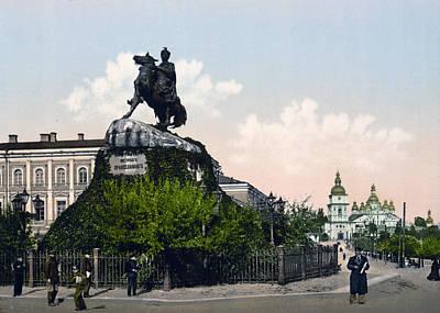 Kiev Photograph - Chmielnitzky Monument In Kiev - Ukraine - Ca 1900 by International  Images