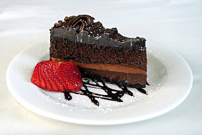 Strawberry Photograph - Chocolate Cake by Lisa Phillips