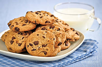 Chocolate Chip Cookies And Milk Print by Elena Elisseeva