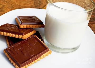 Cookies And Milk Photograph - Chocolate Coated Butter Cookies And Milk by Barbara Griffin