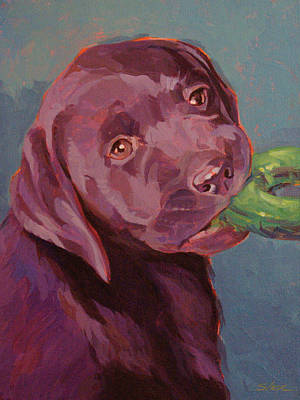 Lab Pup Painting - Chocolate Lab Chew Toy by Shawn Shea