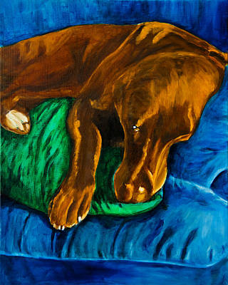 Chocolate Lab On Couch Art Print by Roger Wedegis
