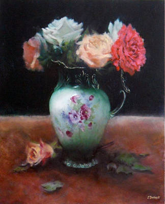Floral Still Life Painting - Chocolate Pot With Roses by Jill Brabant