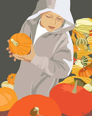Choosing A Pumpkin Art Print