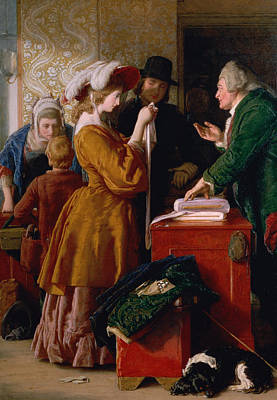 Gown Painting - Choosing The Wedding Gown From Chapter 1 Of 'the Vicar Of Wakefield' by William Mulready