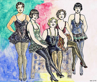 Burlesque Drawing - Chorines by Mel Thompson