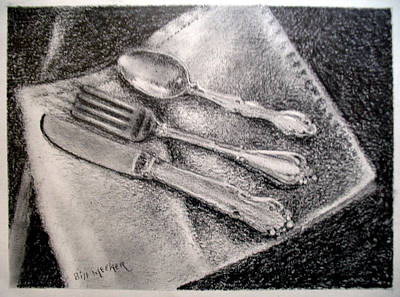 Tableware Drawing - Chow Time by Bill Meeker