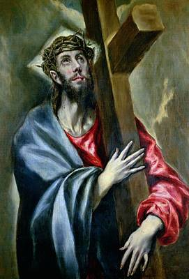 The Wooden Cross Painting - Christ Clasping The Cross by El Greco