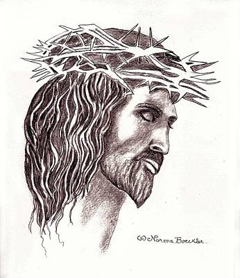 Pencil Drawing Of Jesus Drawing - Christ Crucified by Norma Boeckler