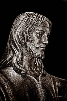 Photograph - Christ In Bronze - Bw by Christopher Holmes