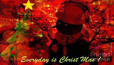 Visionary Art Display Digital Art - Christ In Christmas by Fania Simon