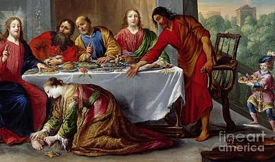Christ In The House Of Simon The Pharisee Art Print by Claude Vignon