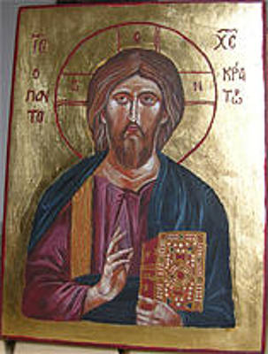 Icon Reproduction Painting - Christ Pantocrator by Karolina Wicha