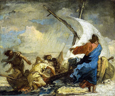 Christ Stills Thetempest Art Print by Giovanni Domenico Tiepolo