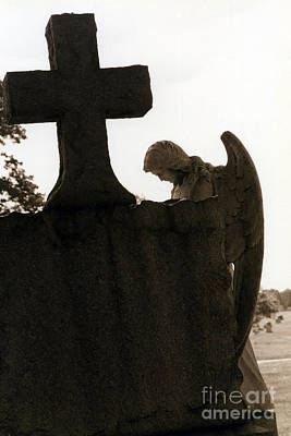 Grave Photograph - Christian Art - Angel At Grave With Large Cross by Kathy Fornal