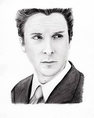 Bales Drawing - Christian Bale by Rosalinda Markle