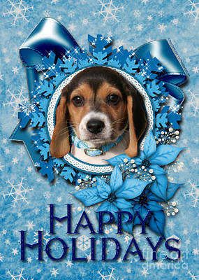 Christmas - Blue Snowflakes Beagle Puppy Art Print by Renae Laughner