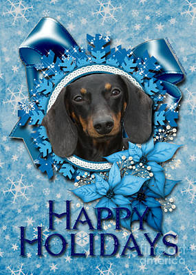 Dachshunds Doxie Digital Art - Christmas - Blue Snowflakes Dachshund by Renae Laughner