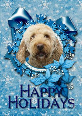 Golden Retriever Digital Art - Christmas - Blue Snowflakes Goldendoodle by Renae Laughner
