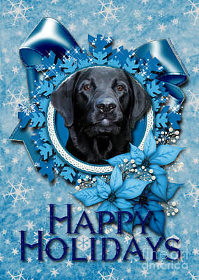 Retriever Digital Art - Christmas - Blue Snowflakes Labrador by Renae Laughner