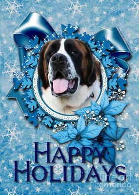 Breed Digital Art - Christmas - Blue Snowflakes Saint Bernard by Renae Laughner