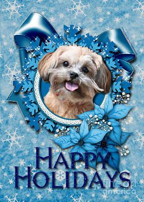 Christmas - Blue Snowflakes Shihpoo Art Print by Renae Laughner