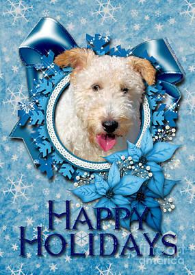 Terrier Digital Art - Christmas - Blue Snowflakes Wire Fox Terrier by Renae Laughner