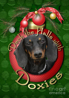 Dachshund Digital Art - Christmas - Deck The Halls With Doxies by Renae Laughner