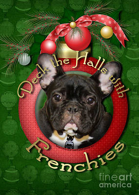 Breed Digital Art - Christmas - Deck The Halls With Frenchies by Renae Laughner