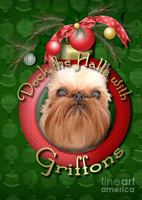 Griffon Digital Art - Christmas - Deck The Halls With Griffons by Renae Laughner